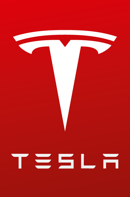 tesla logo red